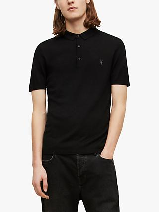 AllSaints Mode Merino Slim Knitted Short Sleeve Polo Shirt, Black