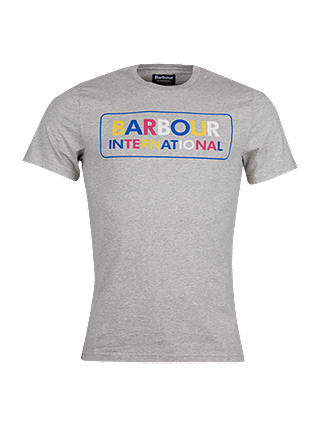 Buy Barbour International Slim Fit Graphic T-Shirt, Grey Marl, S Online at johnlewis.com