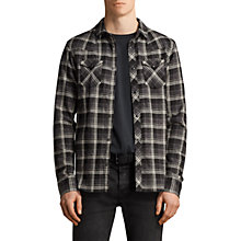 Buy AllSaints Blackroad Long Sleeve Check Shirt, Black Online at johnlewis.com
