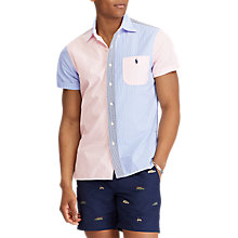 Buy Polo Ralph Lauren Seersucker Short Sleeve Stripe Shirt, Blue/Pink Online at johnlewis.com
