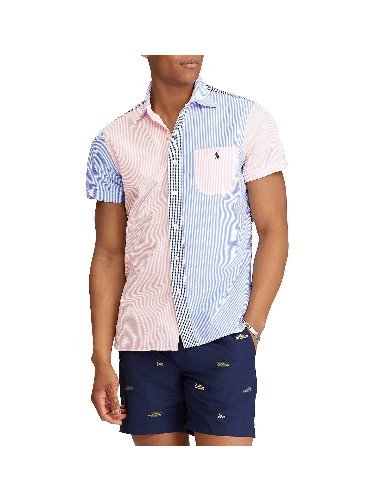 2c710da9e Buy Polo Ralph Lauren Seersucker Short Sleeve Stripe Shirt, Pink/Blue, S  Online ...