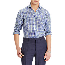 Buy Polo Ralph Lauren Linen Check Shirt, Astor Navy/ White Multi Online at johnlewis.com
