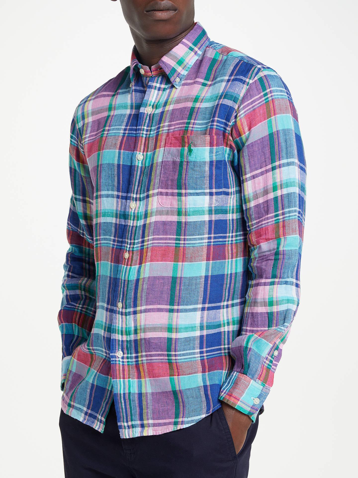 74c1fe571 Buy Polo Ralph Lauren Linen Check Shirt, Aegean Blue/Red Multi, S Online ...