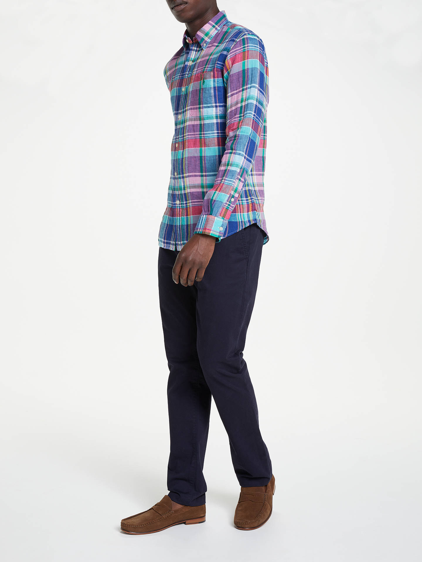 Buy Polo Ralph Lauren Linen Check Shirt, Aegean Blue/Red Multi, S Online at johnlewis.com