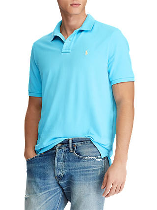 Buy Polo Ralph Lauren Custom Slim Fit Weathered Polo Shirt, Margie Blue, M Online at johnlewis.com