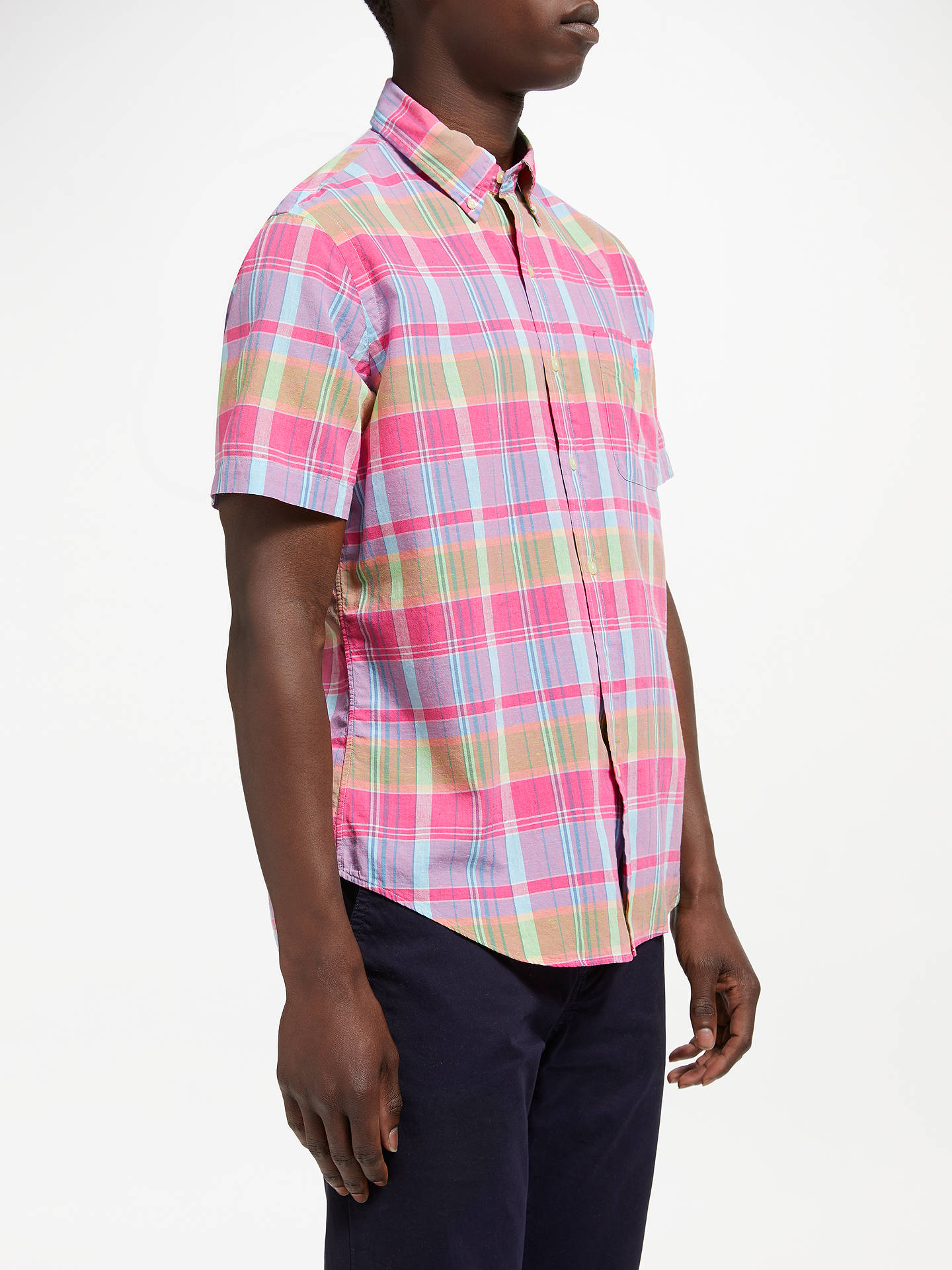 BuyPolo Ralph Lauren Madras Short Sleeve Check Shirt, Magenta/Blue, S Online at johnlewis.com