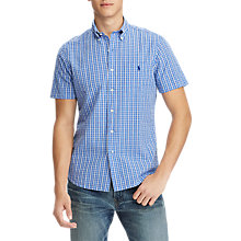 Buy Polo Ralph Lauren Seersucker Short Sleeve Check Shirt, Blue/Navy Online at johnlewis.com