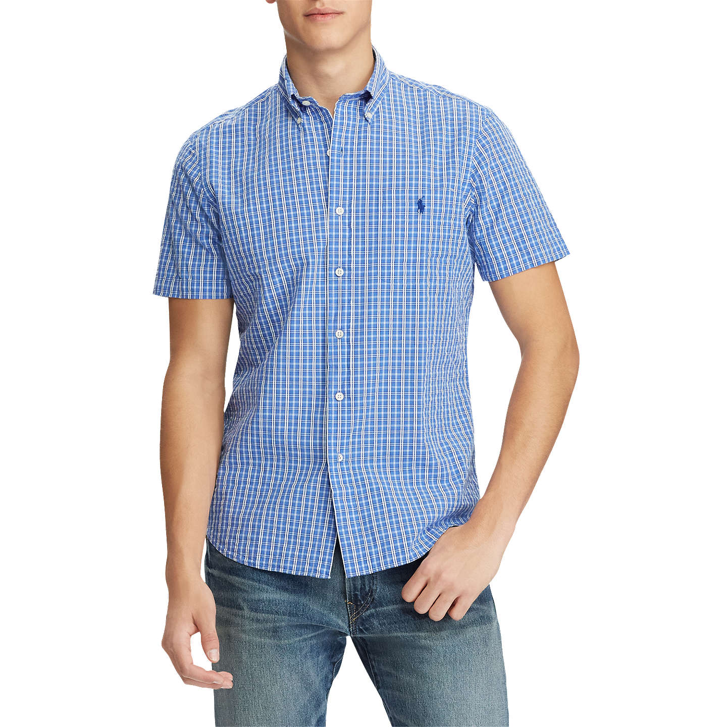 BuyPolo Ralph Lauren Seersucker Short Sleeve Check Shirt, Blue/Navy, S  Online at ...