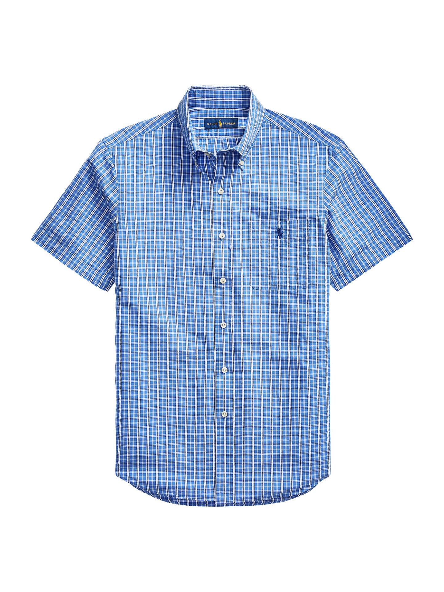 Polo Ralph Lauren Seersucker Short Sleeve Check Shirt Blue Navy
