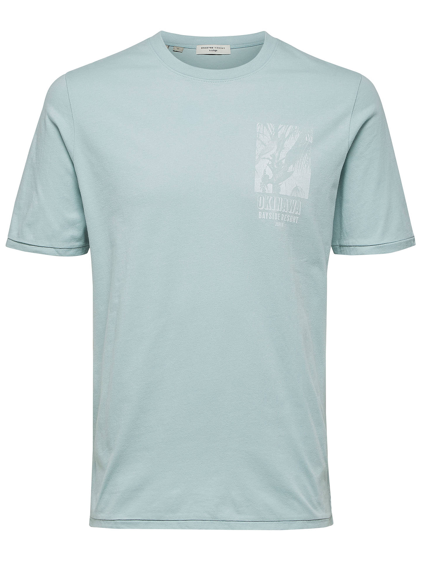 BuySelected Homme Austin Short Sleeve T-Shirt, Cloud Blue, S Online at johnlewis.com