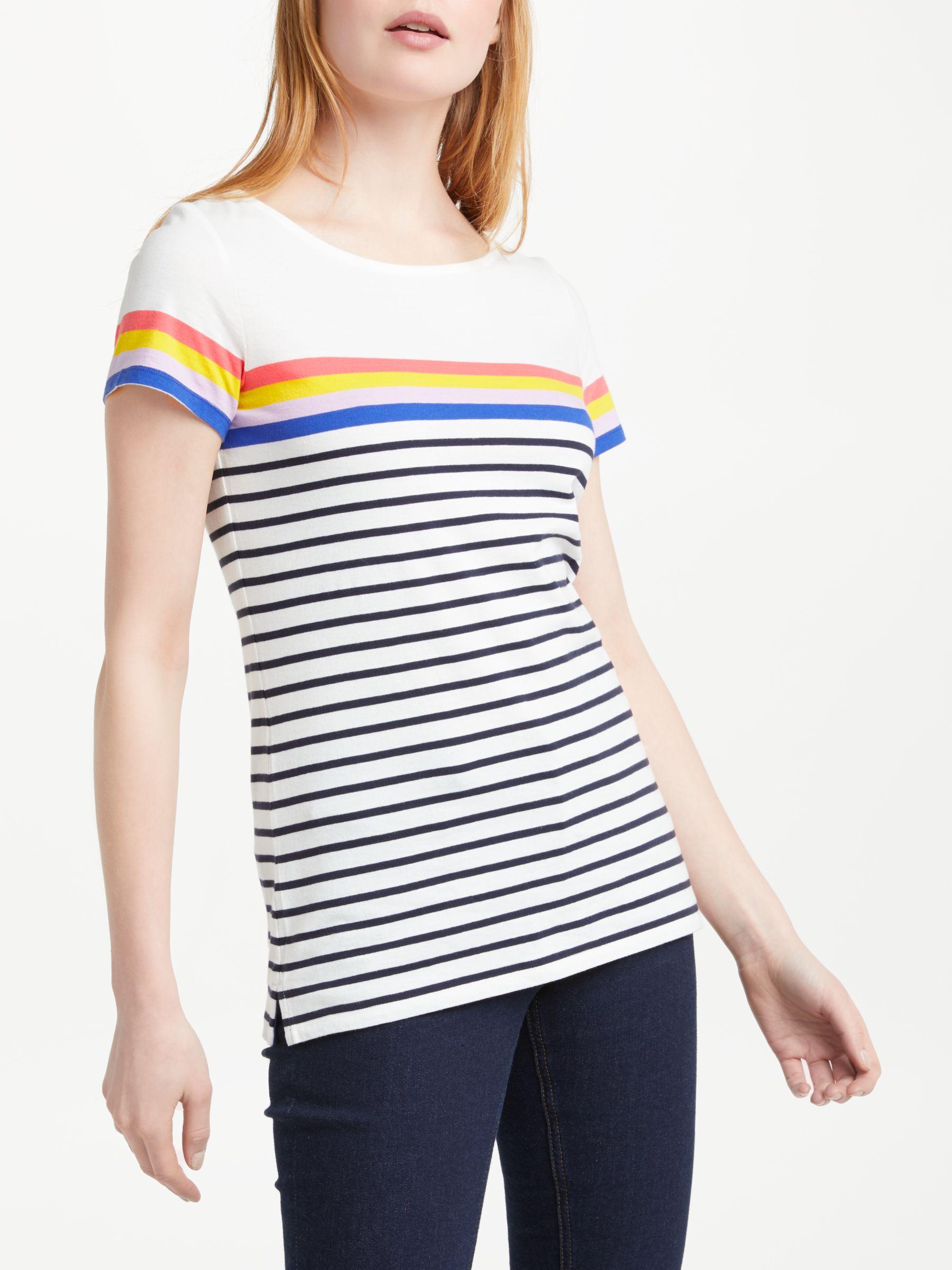 bc233610 Boden Short Sleeve Breton T-Shirt, Ivory/Multi at John Lewis & Partners