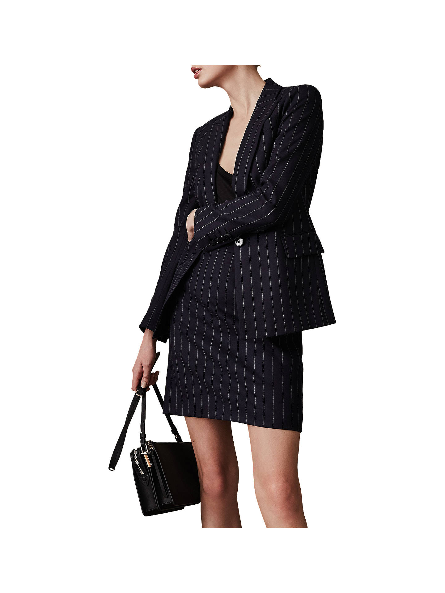 Buy Reiss Piper Tailored Pinstripe Skirt, Navy, 6 Online at johnlewis.com