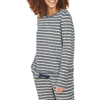 Fat Face Stripe Lounge Pyjama Top, Navy