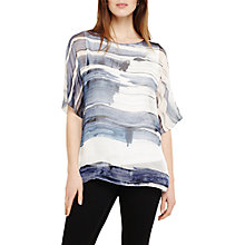 Buy Phase Eight Miriam Silk Blouse, Pitch Blue/White Online at johnlewis.com
