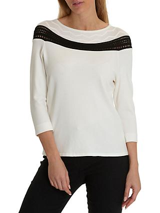 Betty Barclay Fine Knit Jumper, Cream/Black
