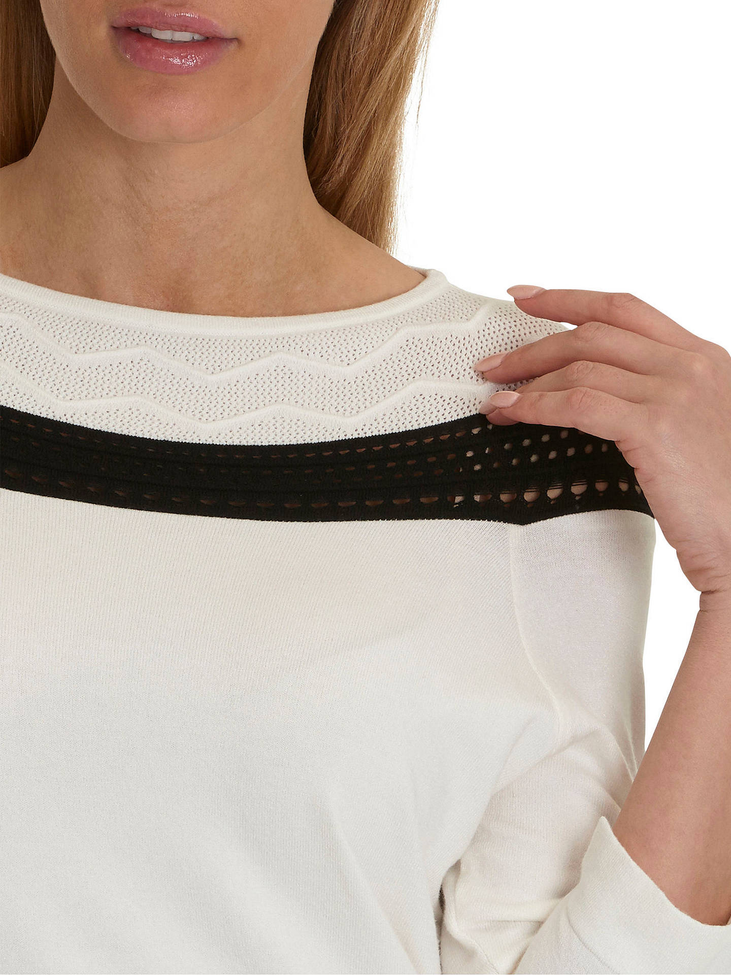 Buy Betty Barclay Fine Knit Jumper, Cream/Black, 10 Online at johnlewis.com