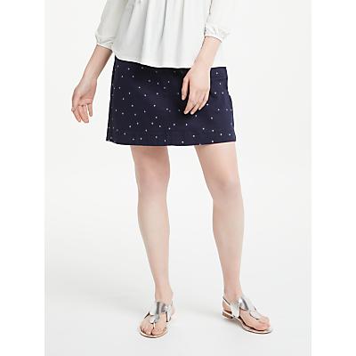 Boden Chino Skirt, Navy With Hazy Sky Spot
