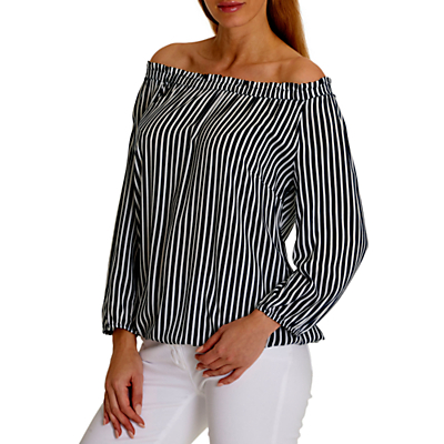 Betty Barclay Bardot Striped Blouse, Dark Blue/Cream
