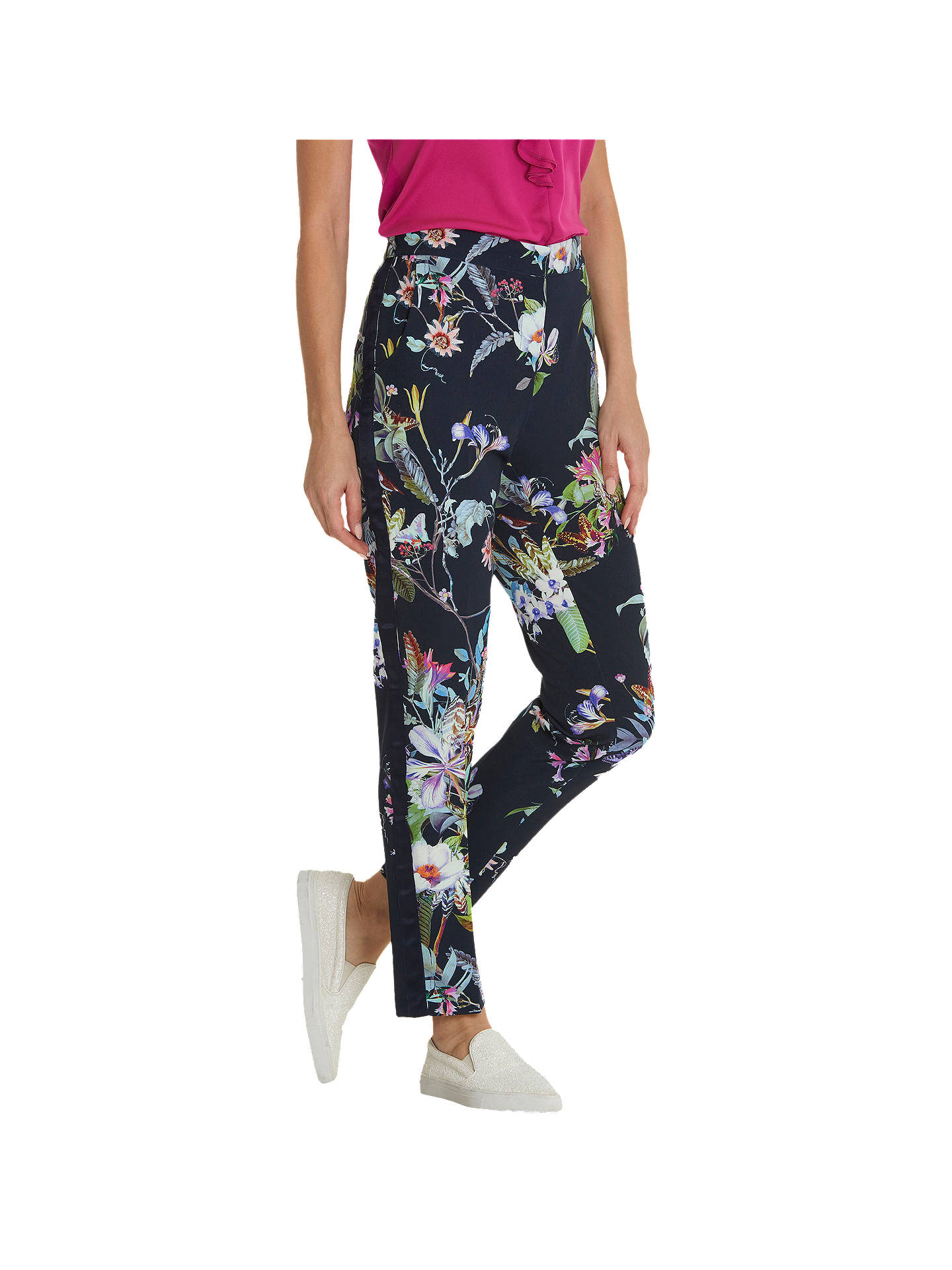 BuyBetty Barclay Floral Print Trousers, Dark Blue/Pink, 16 Online at johnlewis.com
