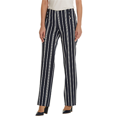 Betty Barclay Striped Marine Trousers, Dark Blue/Cream