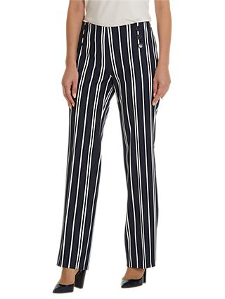 Betty Barclay Striped Marine Trousers, Dark Blue/Cream
