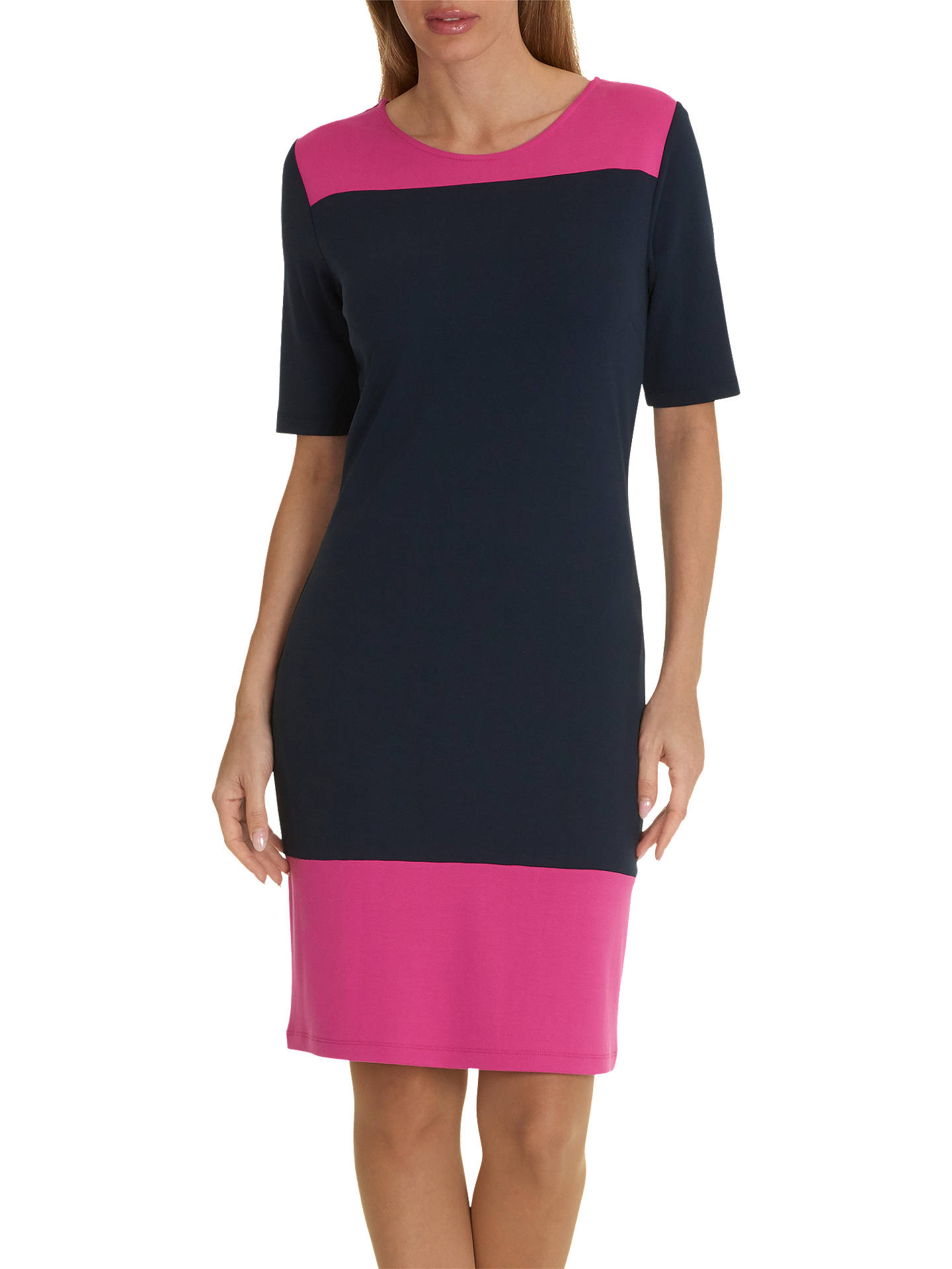 BuyBetty Barclay Short Sleeve Jersey Dress, Dark Blue/Pink, 10 Online at johnlewis.com