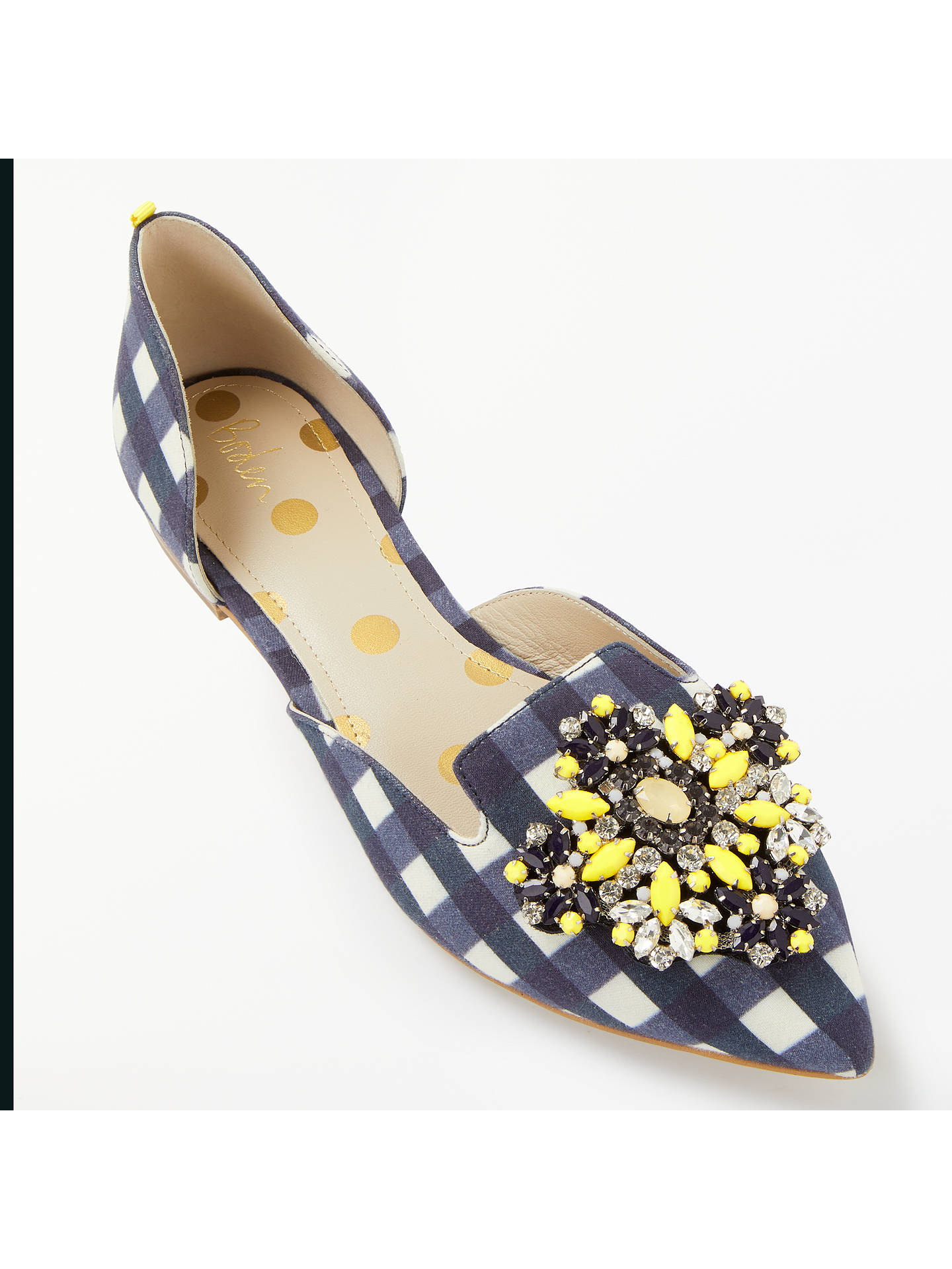 Buy Boden Leah Embellished Pumps, Navy Gingham, 4 Online at johnlewis.com