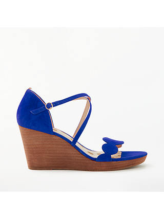 Buy Boden Bethany Wedge Heel Sandals, Blue Suede, 4 Online at johnlewis.com