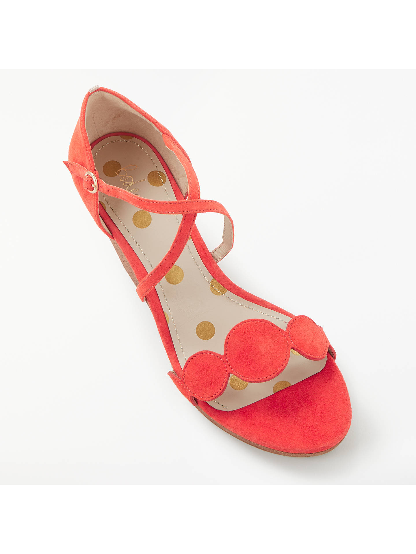 BuyBoden Bethany Wedge Heel Sandals, Red Suede, 4 Online at johnlewis.com