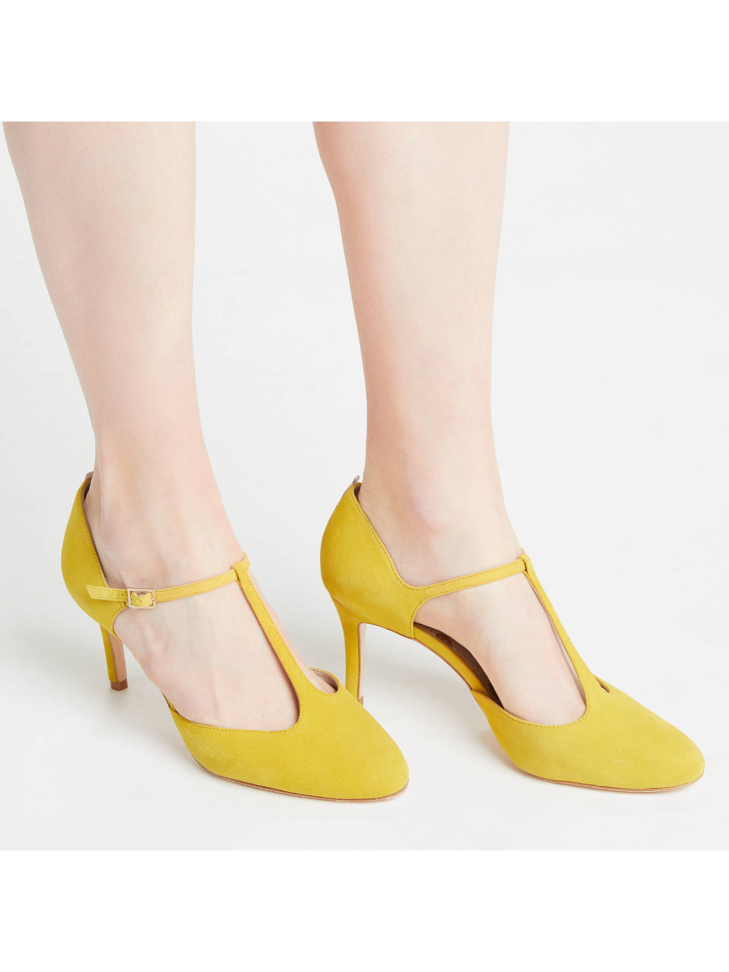 Buy Boden Whitney Stiletto Heel T-Bar Court Shoes, Yellow Suede, 5 Online at johnlewis.com