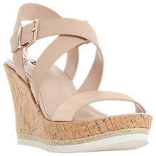 Buy Dune Kyte Cross Strap Cork Wedged High Heel, Blush Online at johnlewis.com