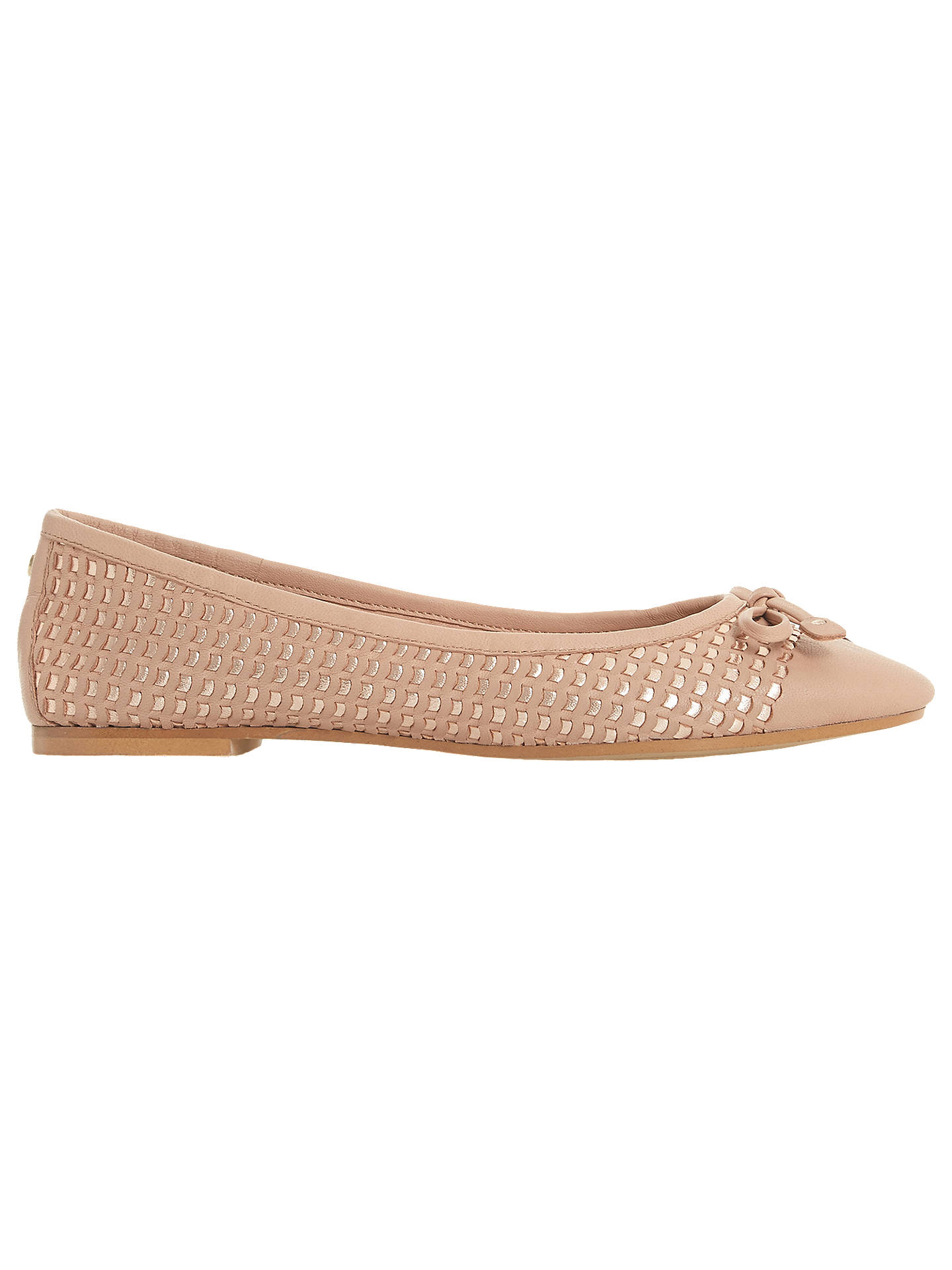 BuyDune Hennah Woven Ballet Pumps, Nude Leather, 3 Online at johnlewis.com