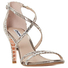 Buy Dune Mariela Cross Strap Stiletto Heeled Sandals, Pewter Online at johnlewis.com