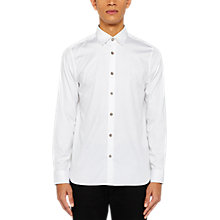 Buy Ted Baker Bylly Satin Finish Slim Fit Shirt, White Online at johnlewis.com