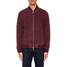 Buy Ted Baker Albi Suede Bomber Jacket, Oxblood Online at johnlewis.com
