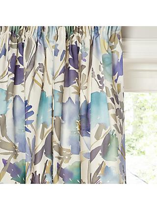 John Lewis & Partners Bloom Lined Pencil Pleat Curtains, Blue