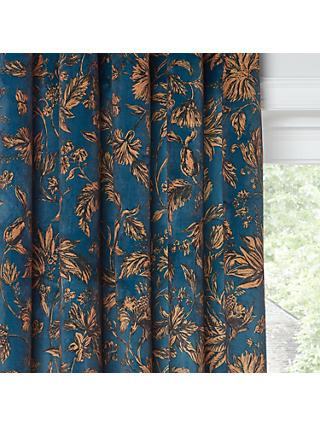 John Lewis Partners Florentina Pair Lined Eyelet Curtains Teal Gold