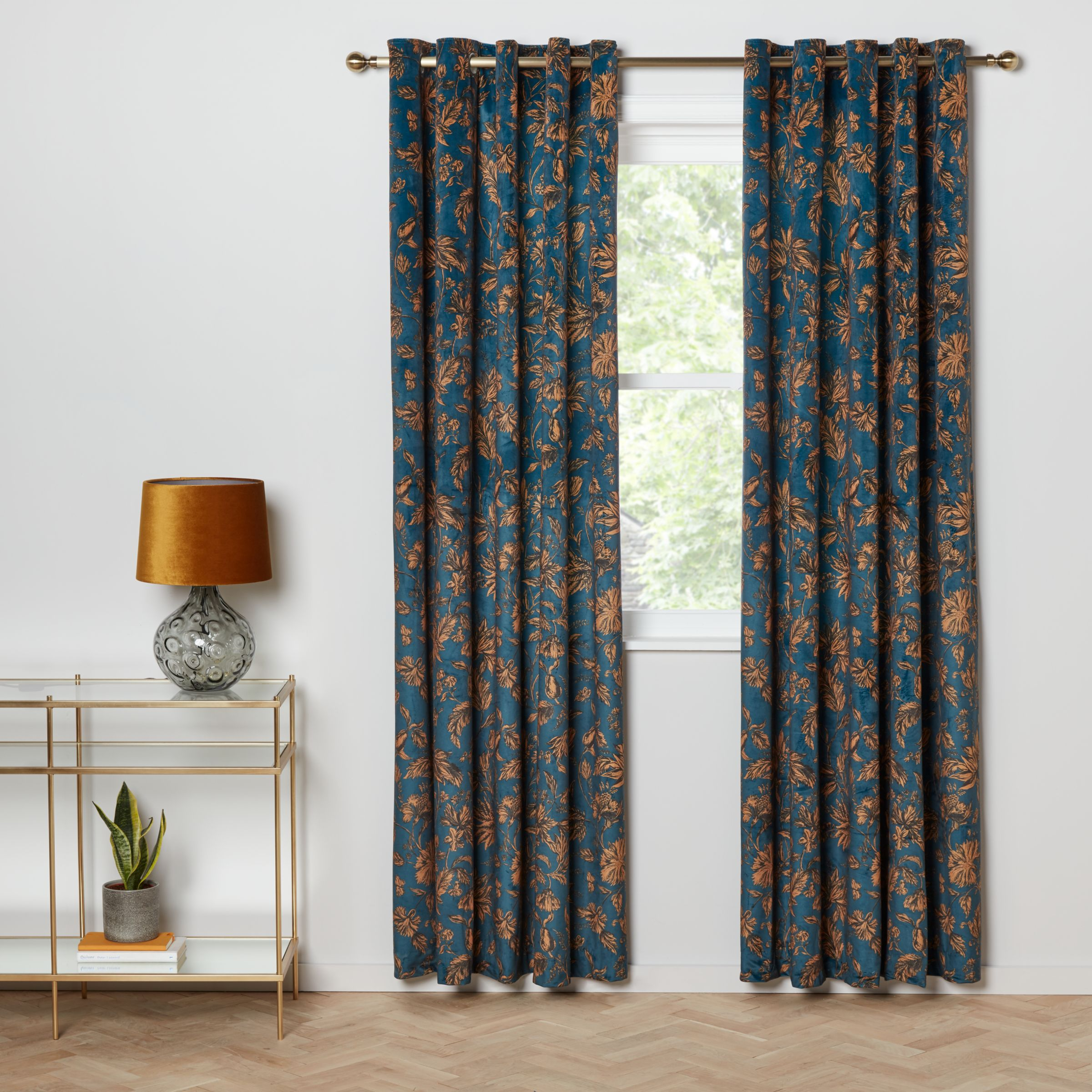 John Lewis Partners Velvet Florentina Pair Lined Eyelet Curtains Teal Gold At John Lewis Partners