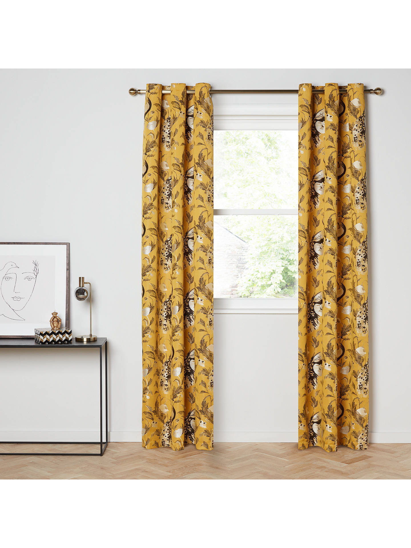 John Lewis Partners Java Pair Lined Eyelet Curtains Yellow At John Lewis Partners