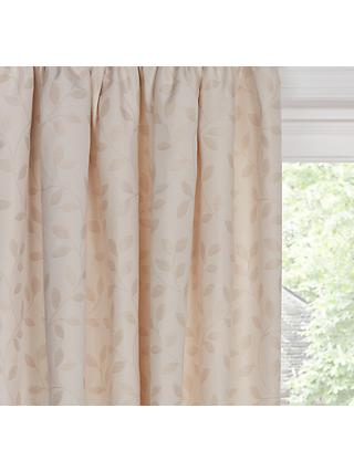 John Lewis & Partners Leaf Trail Pair Lined Pencil Pleat Curtains, Natural