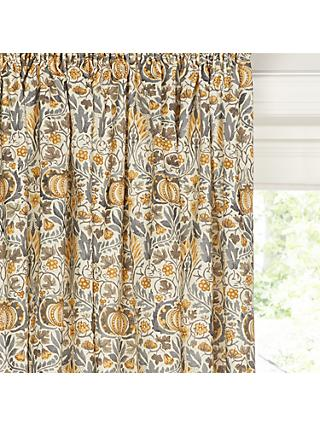 Morris & Co.Little Chintz Pair Lined Pencil Pleat Curtains, Grey / Yellow