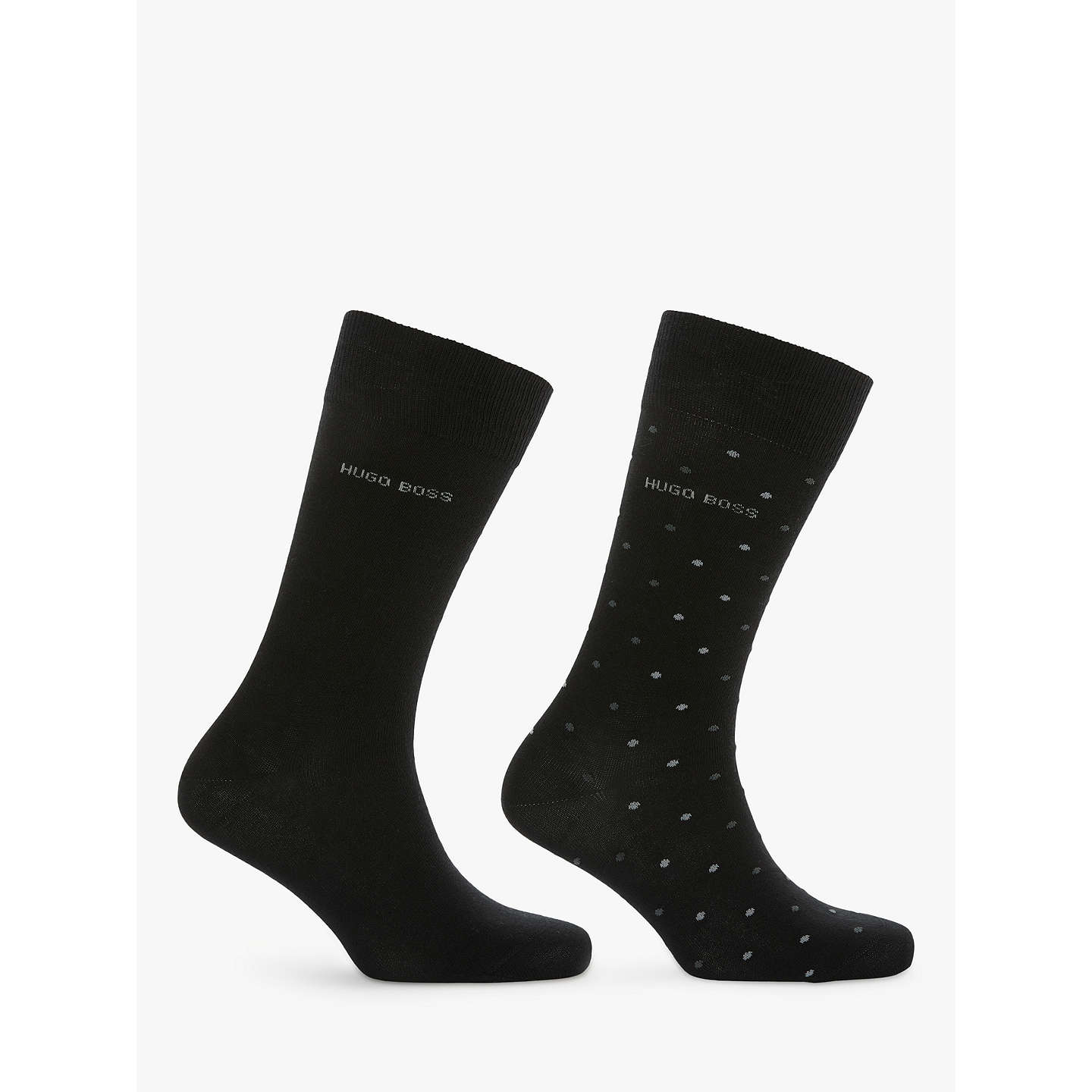 BuyBOSS Spot Plain Socks, Pack of 2, Black/Grey, S Online at johnlewis.com