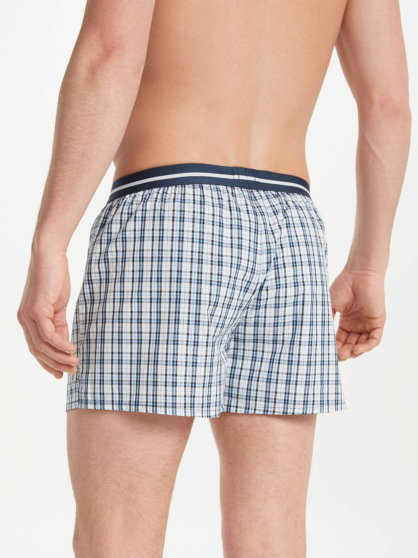 BuyBOSS Check Cotton Boxers, Pack of 2, Blue, S Online at johnlewis.com