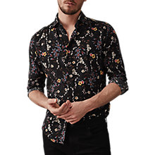 Buy Reiss Fino Long Sleeve Floral Shirt, Black Online at johnlewis.com