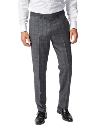 Chester by Chester Barrie Prince of Wales Check Suit Trousers, Charcoal