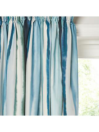 John Lewis Partners Watercolour Pair Lined Pencil Pleat Curtains Blue