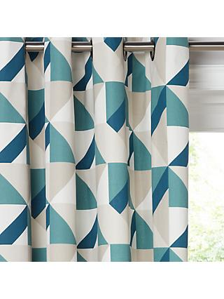 John Lewis & Partners Maja Pair Lined Eyelet Curtains, Blue