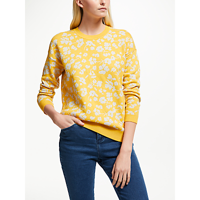 Collection WEEKEND by John Lewis Floral Intarsia Jumper, Yellow/Grey