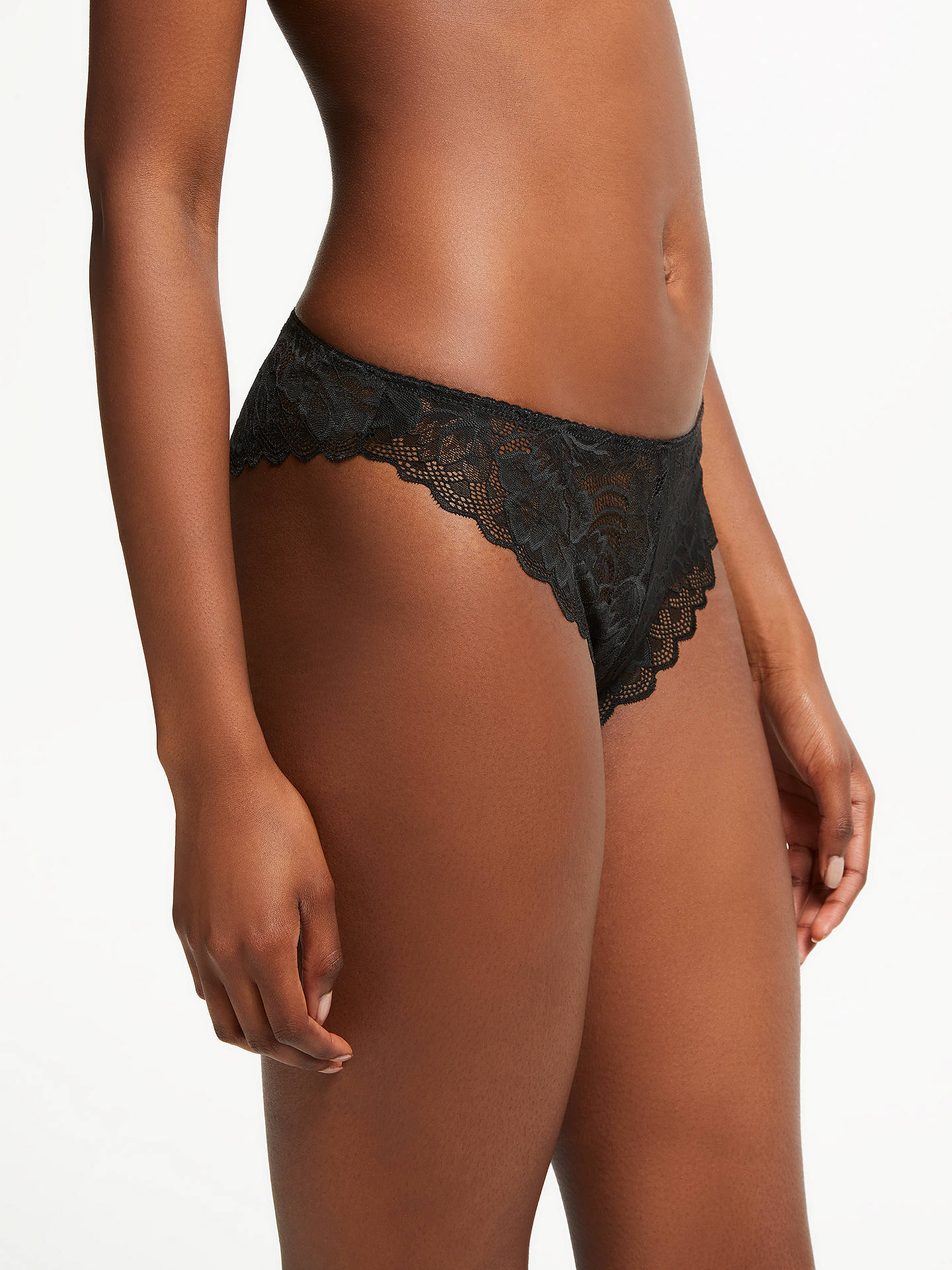 Buy AND/OR Lace Brazilian Thong, Black, 8 Online at johnlewis.com