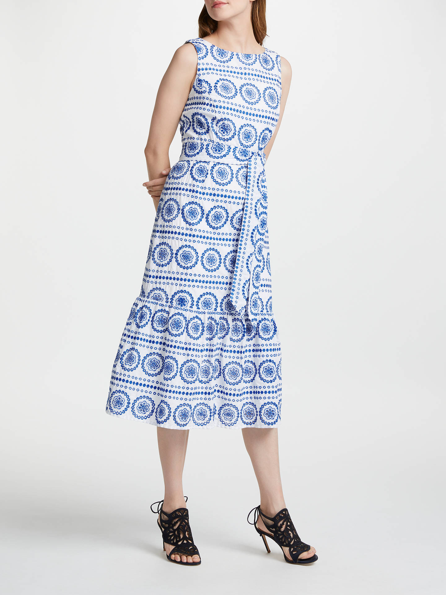 BuyBoden Broderie Dress, White China Blue Embroidery, 8 Online at johnlewis.com